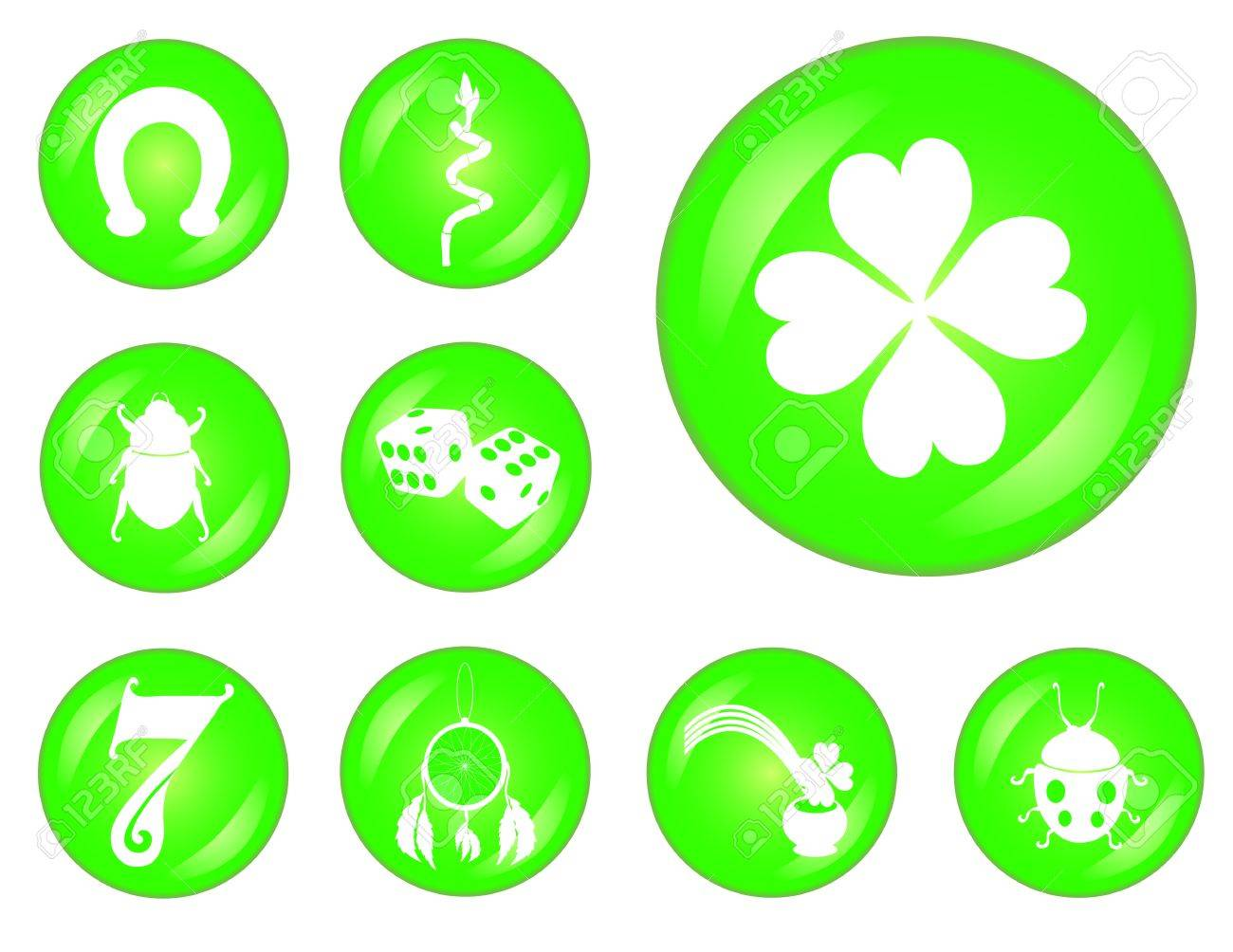 Set Of 12 Principal Symbols Of Luck Royalty Free Cliparts Vectors