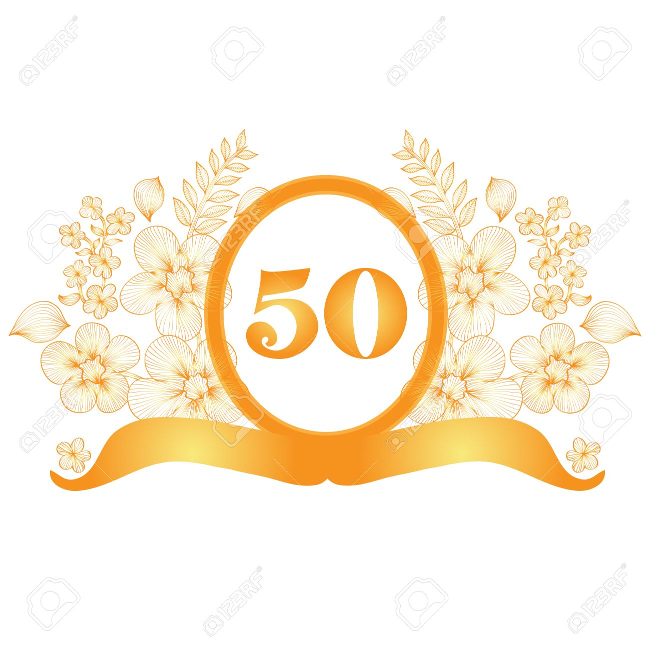 50th Anniversary Golden Floral Banner, Design Element Royalty Free ...