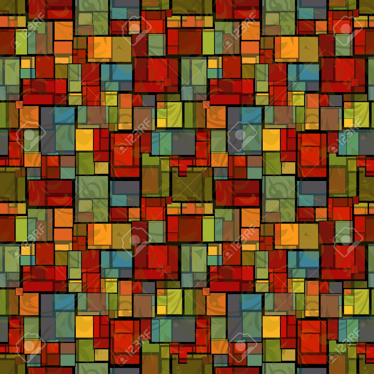 Abstract Seamless Pattern With Stained Glass Imitation Design