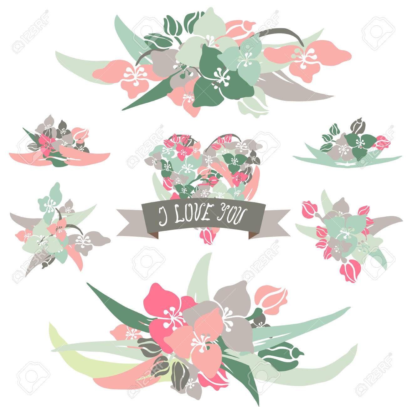 Elegant Floral Bouquets Lily Flowers Design Elements Floral