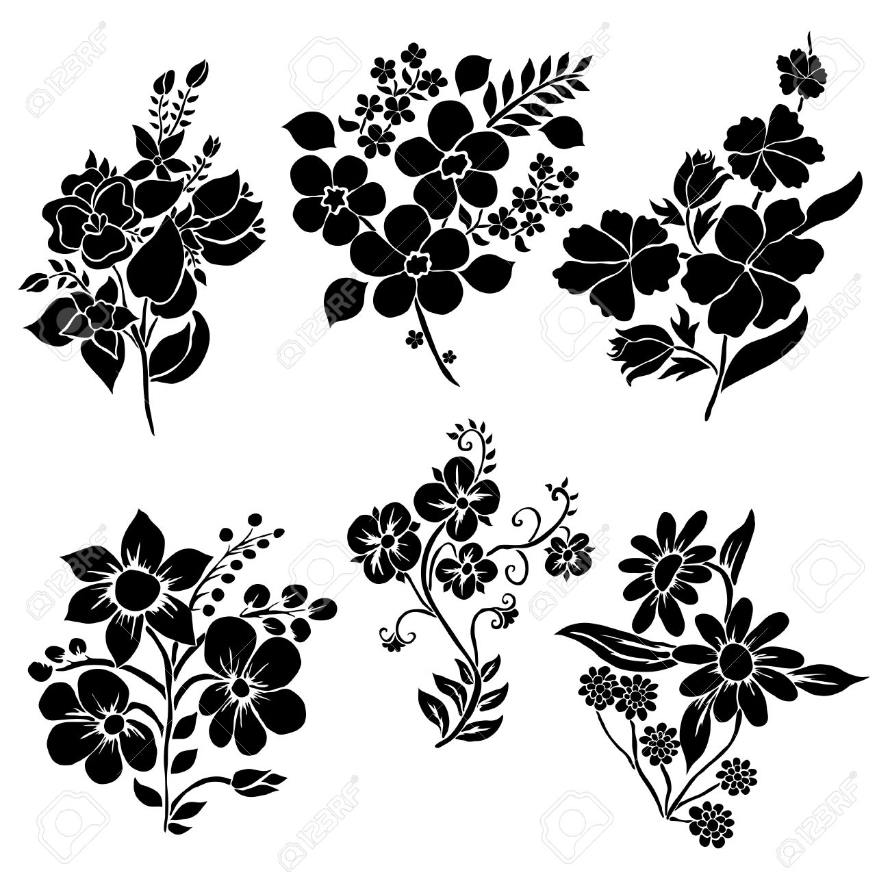 6 Elegant Decorative Flowers, Design Elements. Floral Branches ...