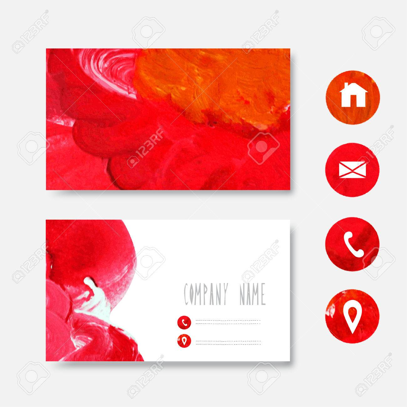 Oil painted red business card template design element can be oil painted red business card template design element can be used also for greeting colourmoves