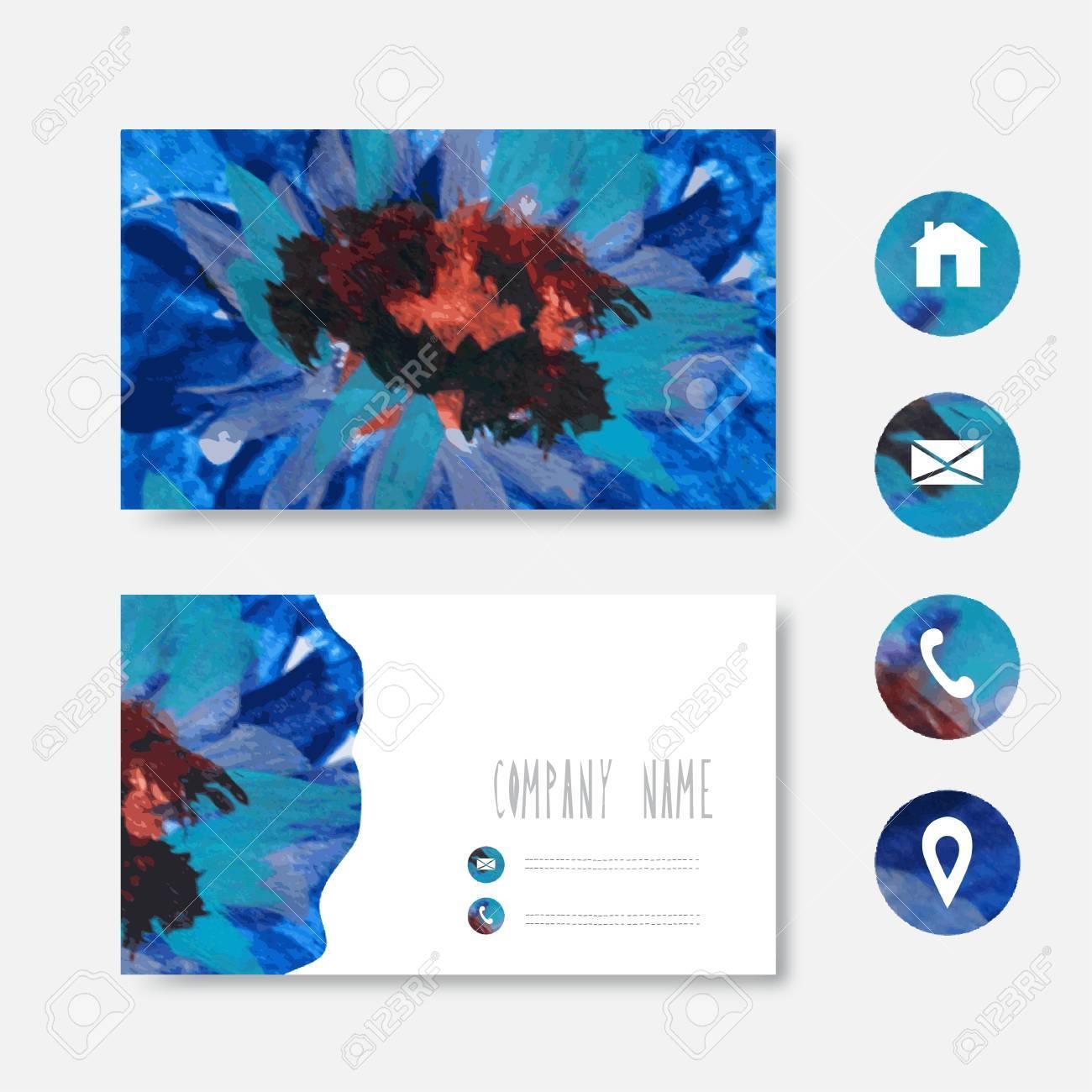 Huile Peinte En Bleu Brun Modle De Carte Visite Noir Lment