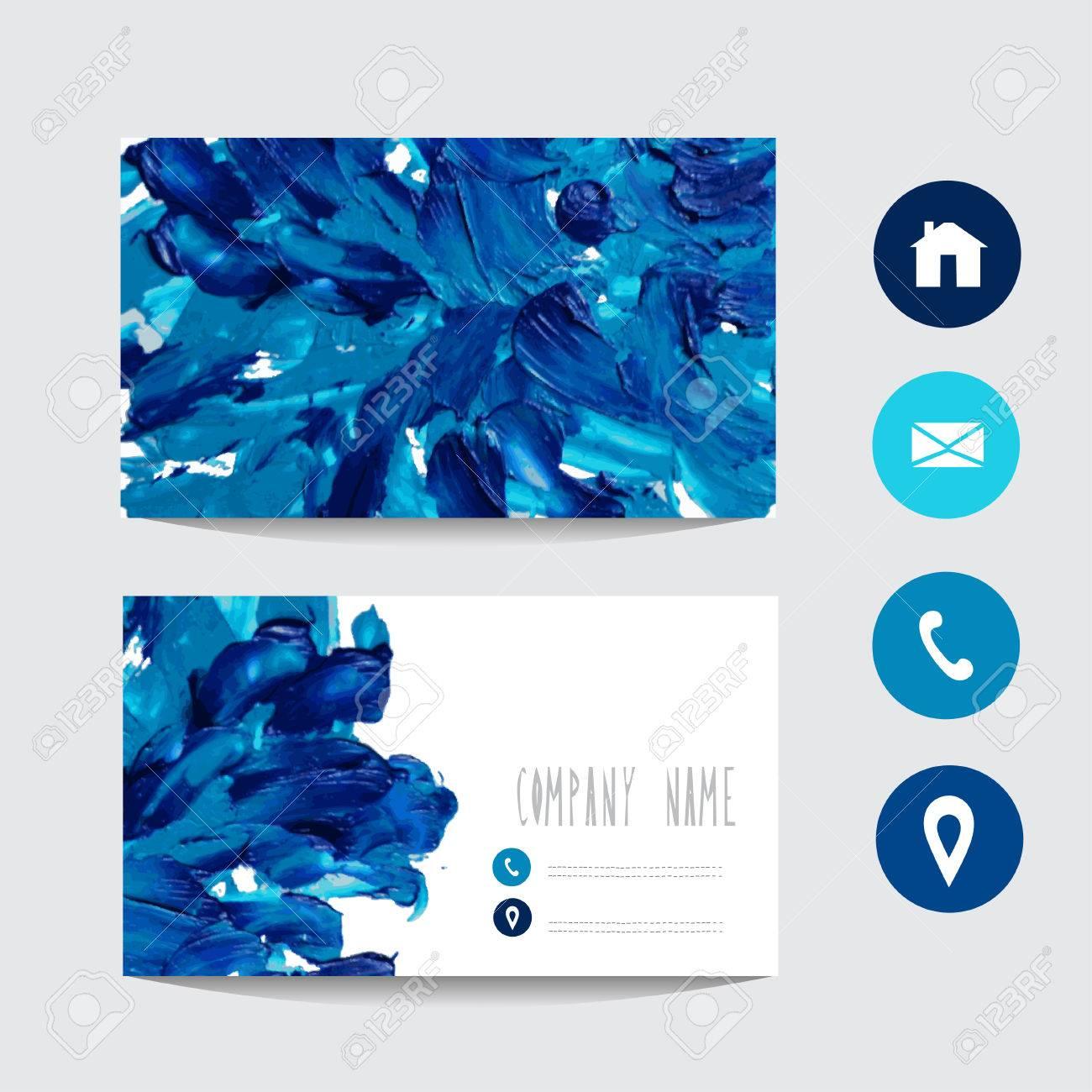 Huile Peint Modele De Carte Visite Bleu Element Design Peut