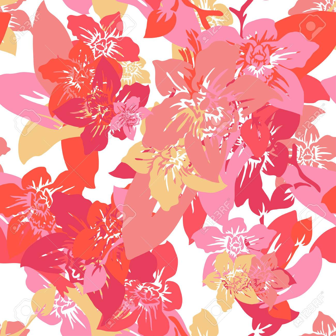 Elegant Seamless Pattern With Hand Drawn Decorative Orchid Flowers ...