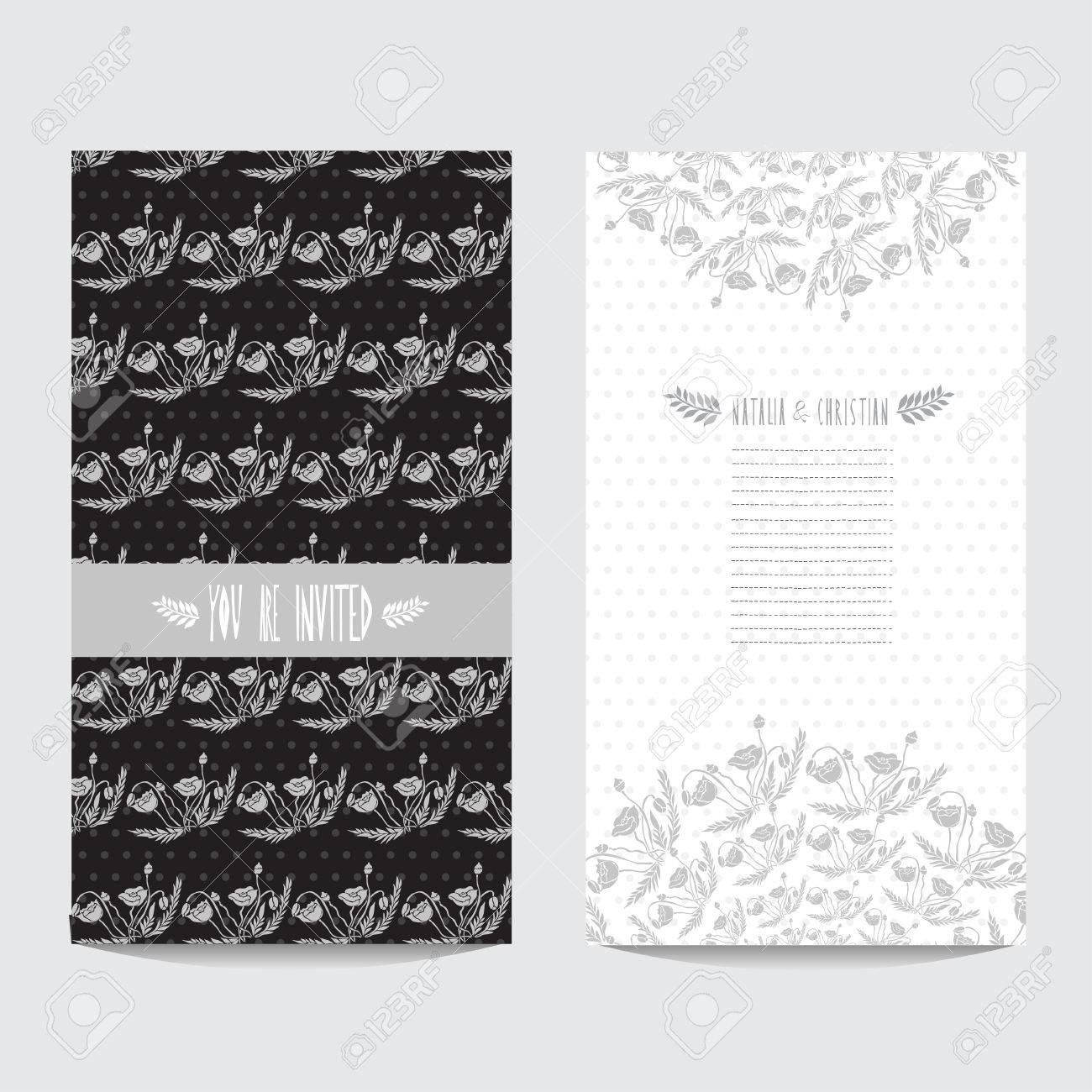 Elegante Karte In Black Silver Farben Mit Dekorativen Mohn, Design ...