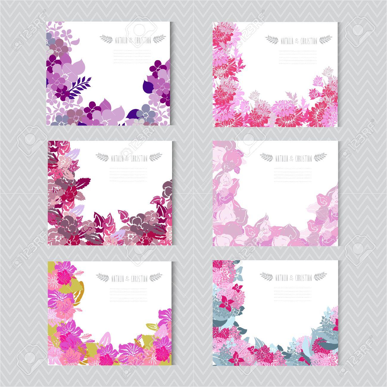 Tarjetas Elegantes Con Flores Decorativas Elementos De Diseño