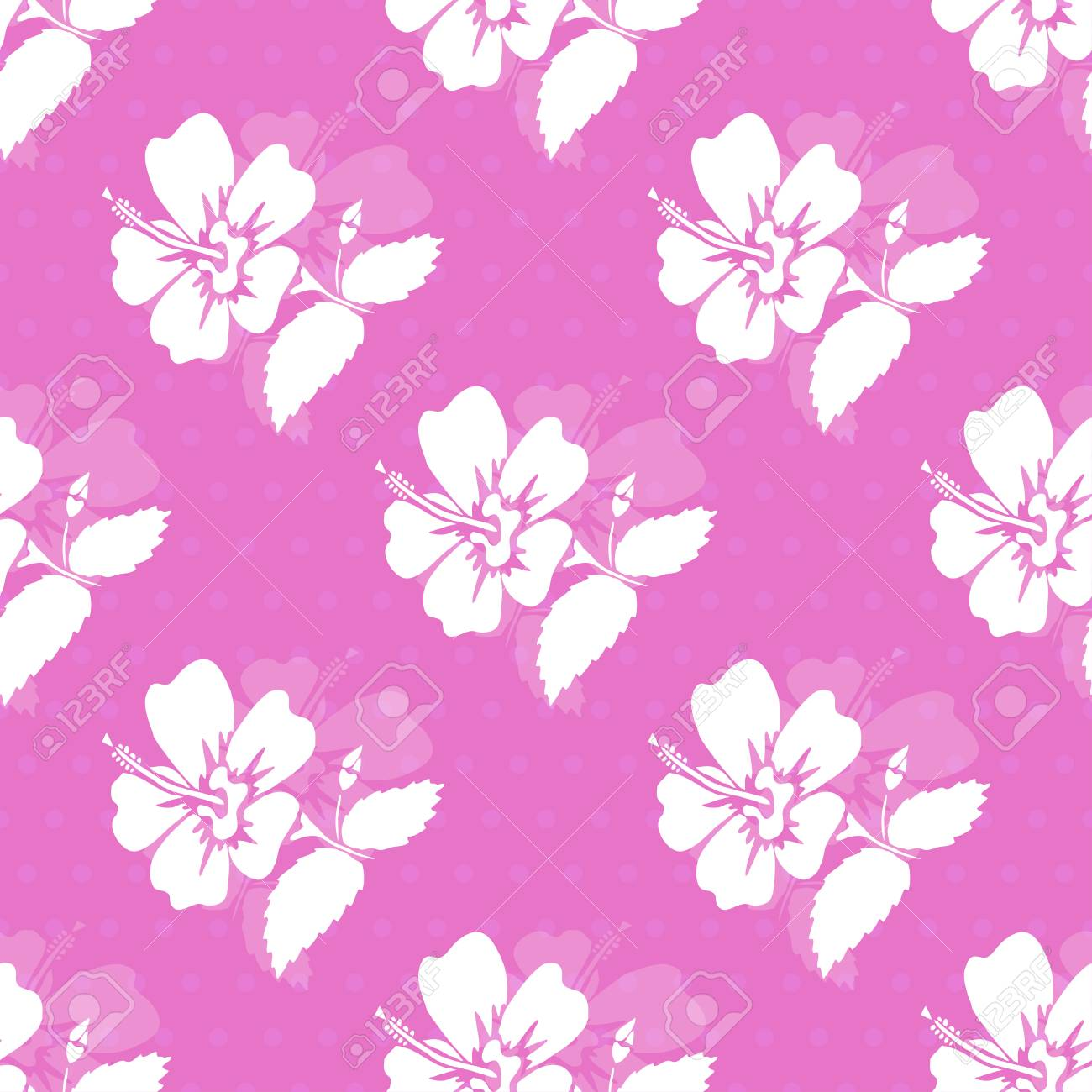 Elegant Seamless Pattern With Hand Drawn Decorative Hibiscus