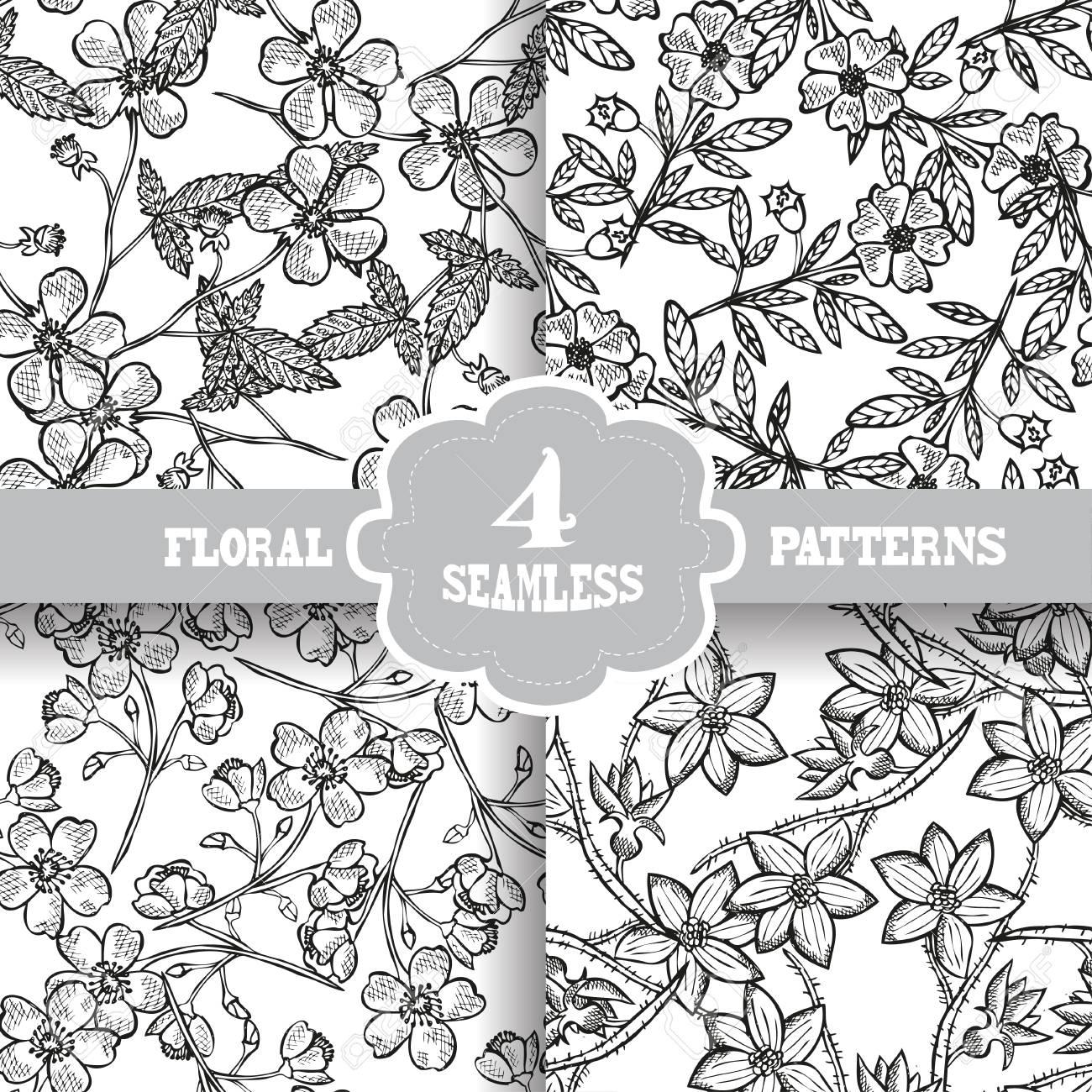 Elegant Seamless Patterns With Hand Drawn Decorative Flowers ...