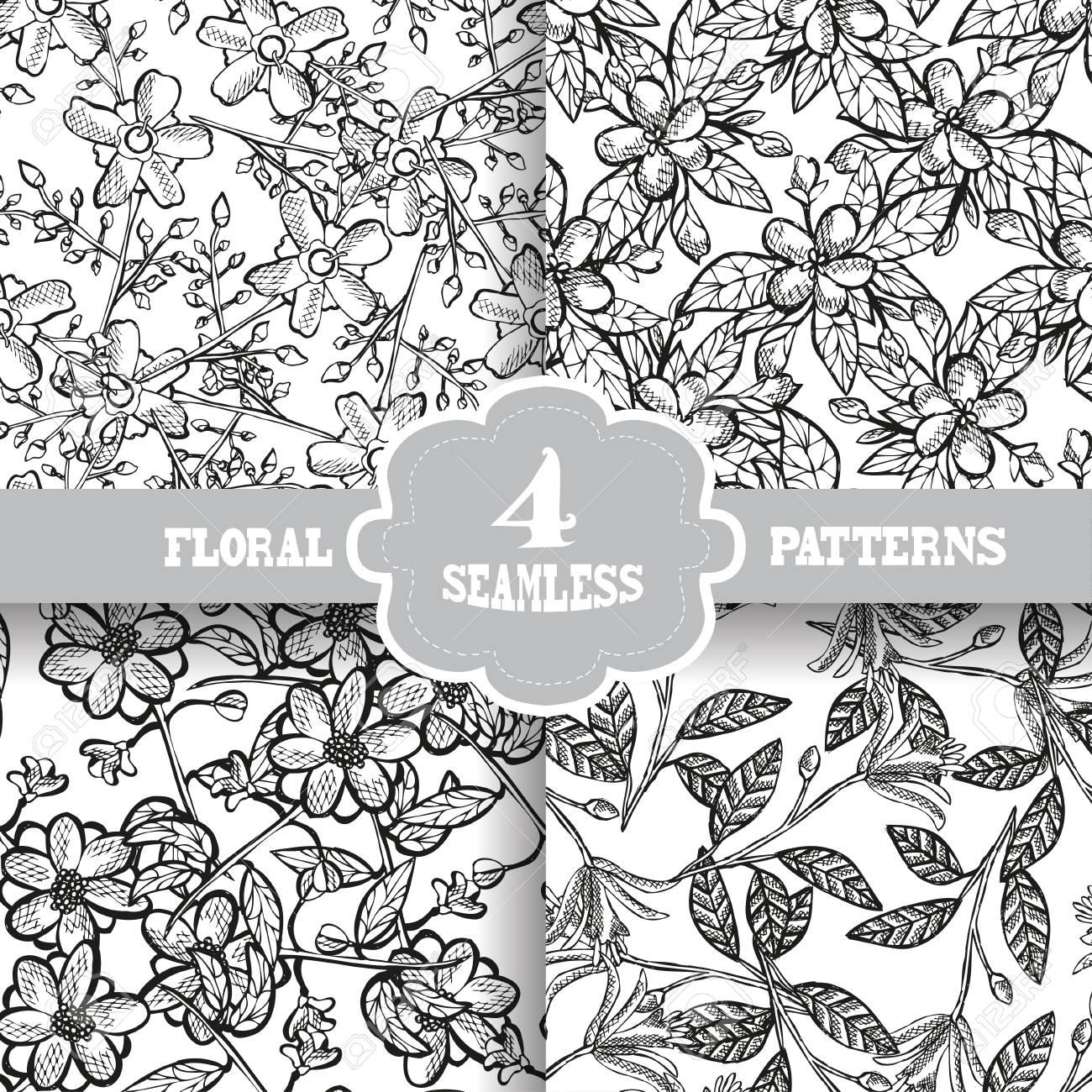 Patrones De Costura Elegantes Con Dibujado A Mano Las Flores ...
