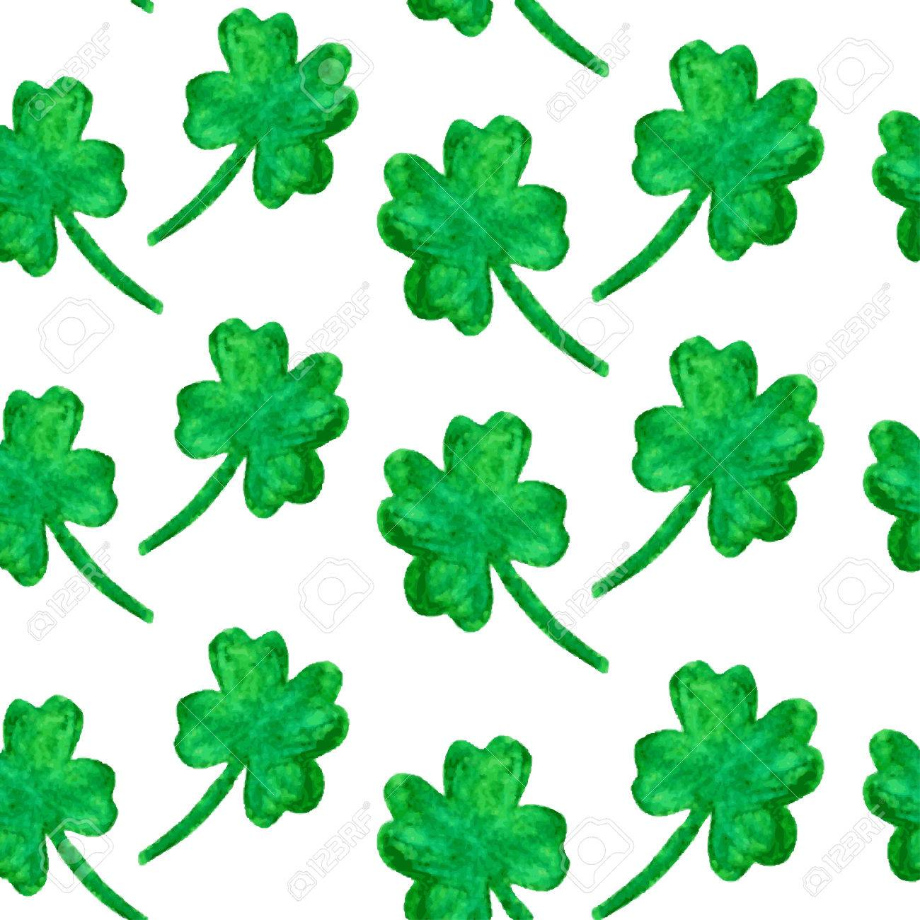 elegant seamless pattern with watercolor painted four leaf clovers
