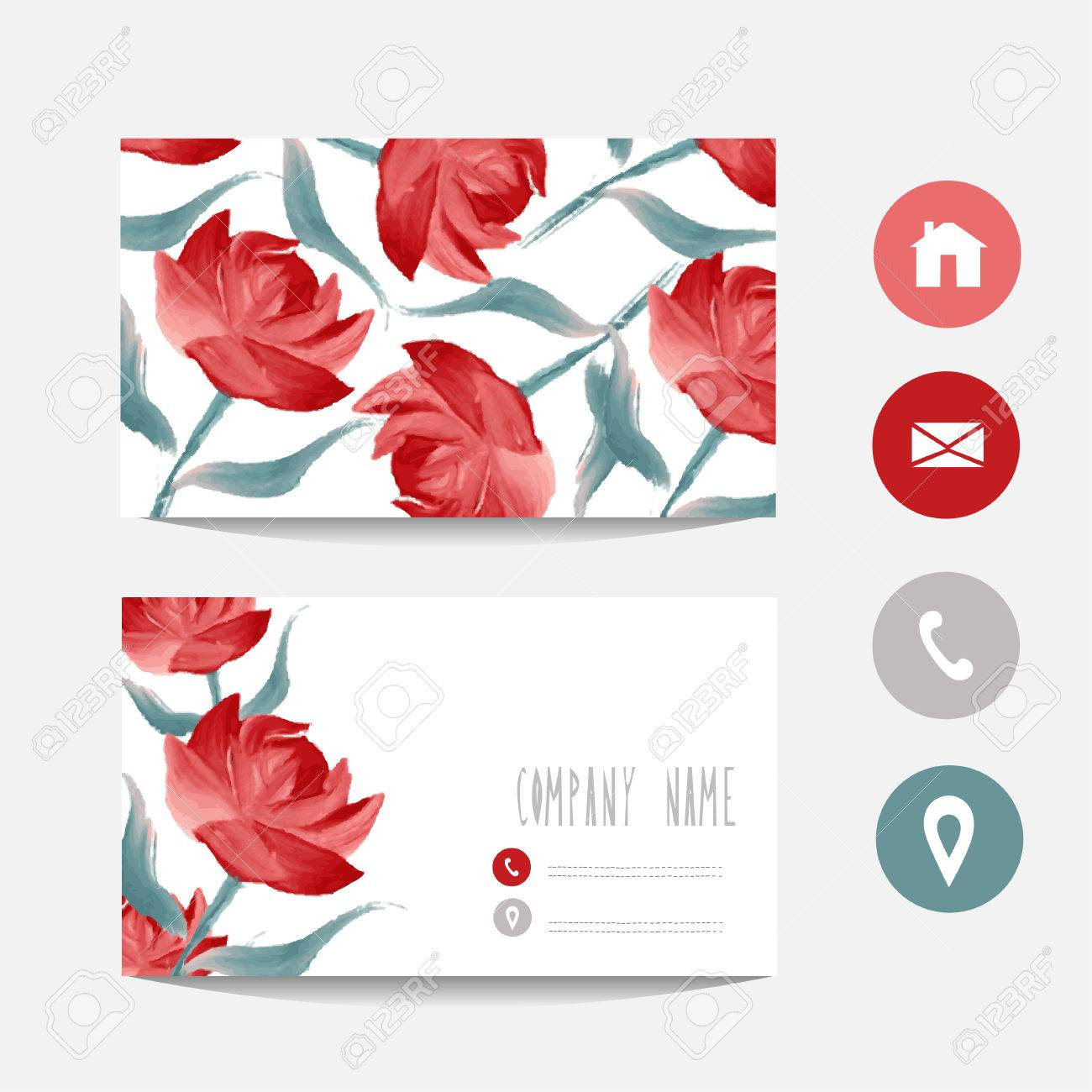 Oil painted business card template with red roses design element oil painted business card template with red roses design element can be used also reheart Image collections