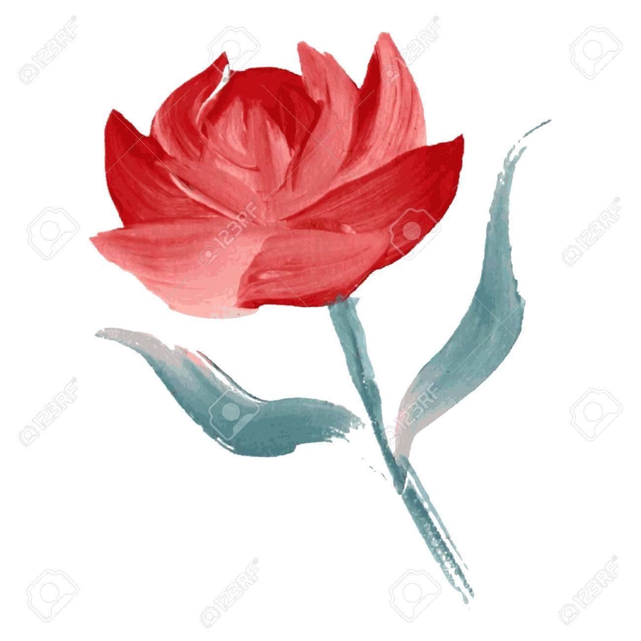 Dekorative Ol Gemalt Rote Rose Blume Design Element Kann Fur