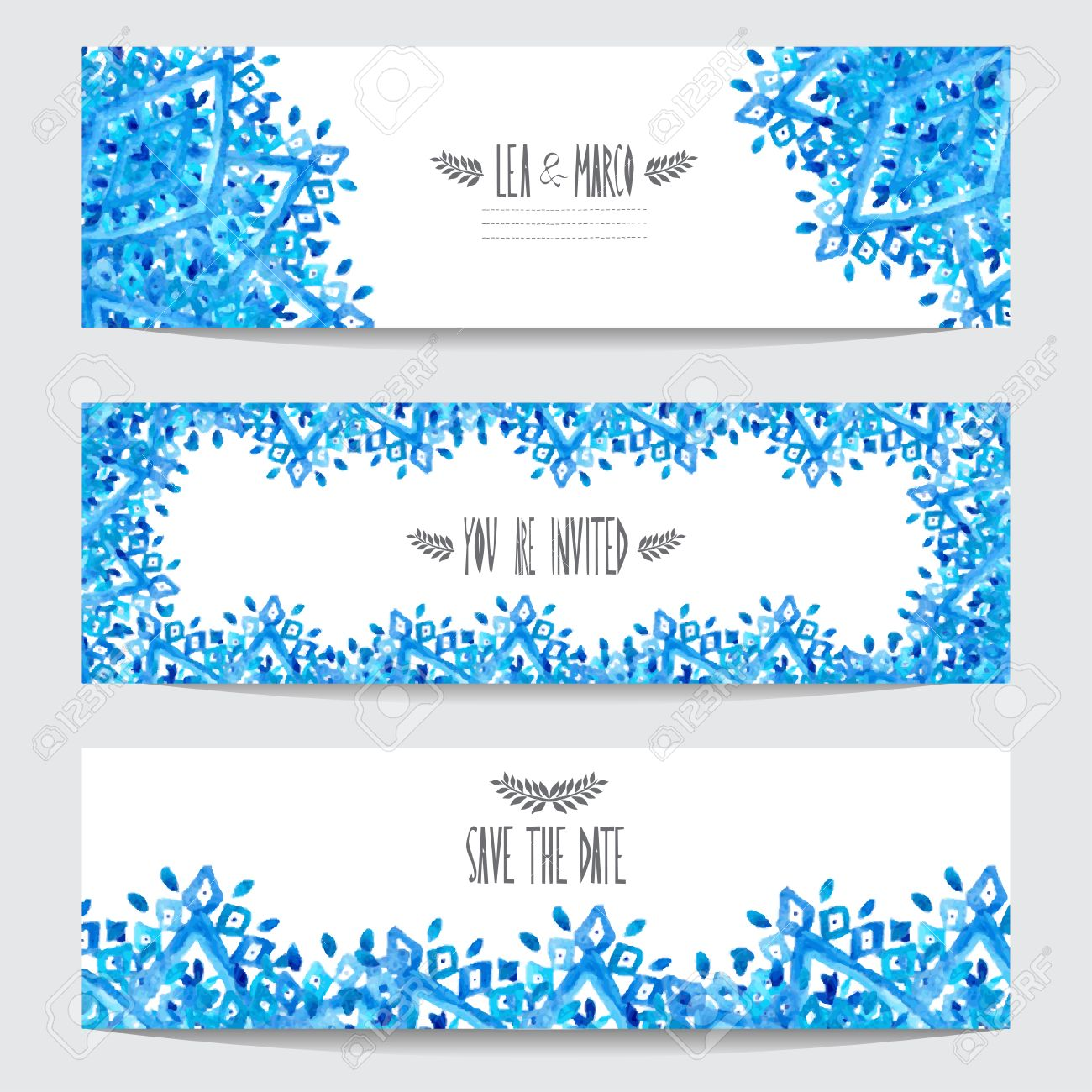 Elegant Watercolor Blue Cards, Design Elements. Can Be Used For ...