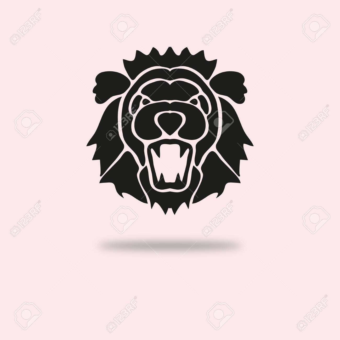 Abstract roaring lion symbol, design element