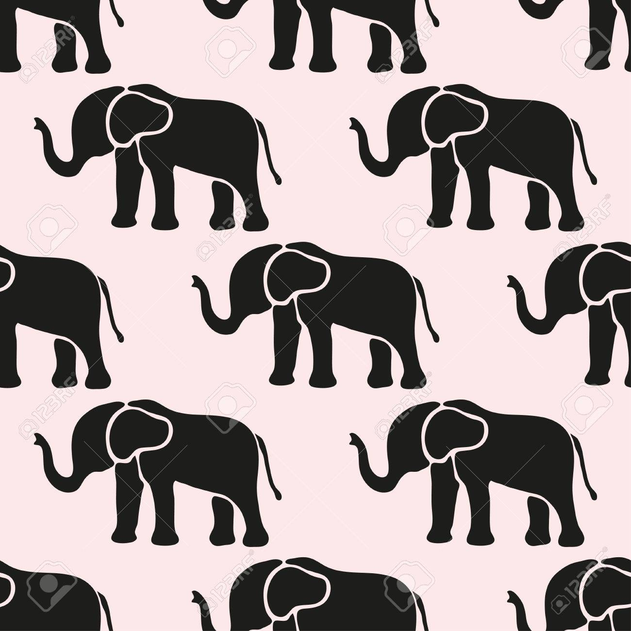 Elegant Seamless Pattern With Abstract Elephant Symbols Design
