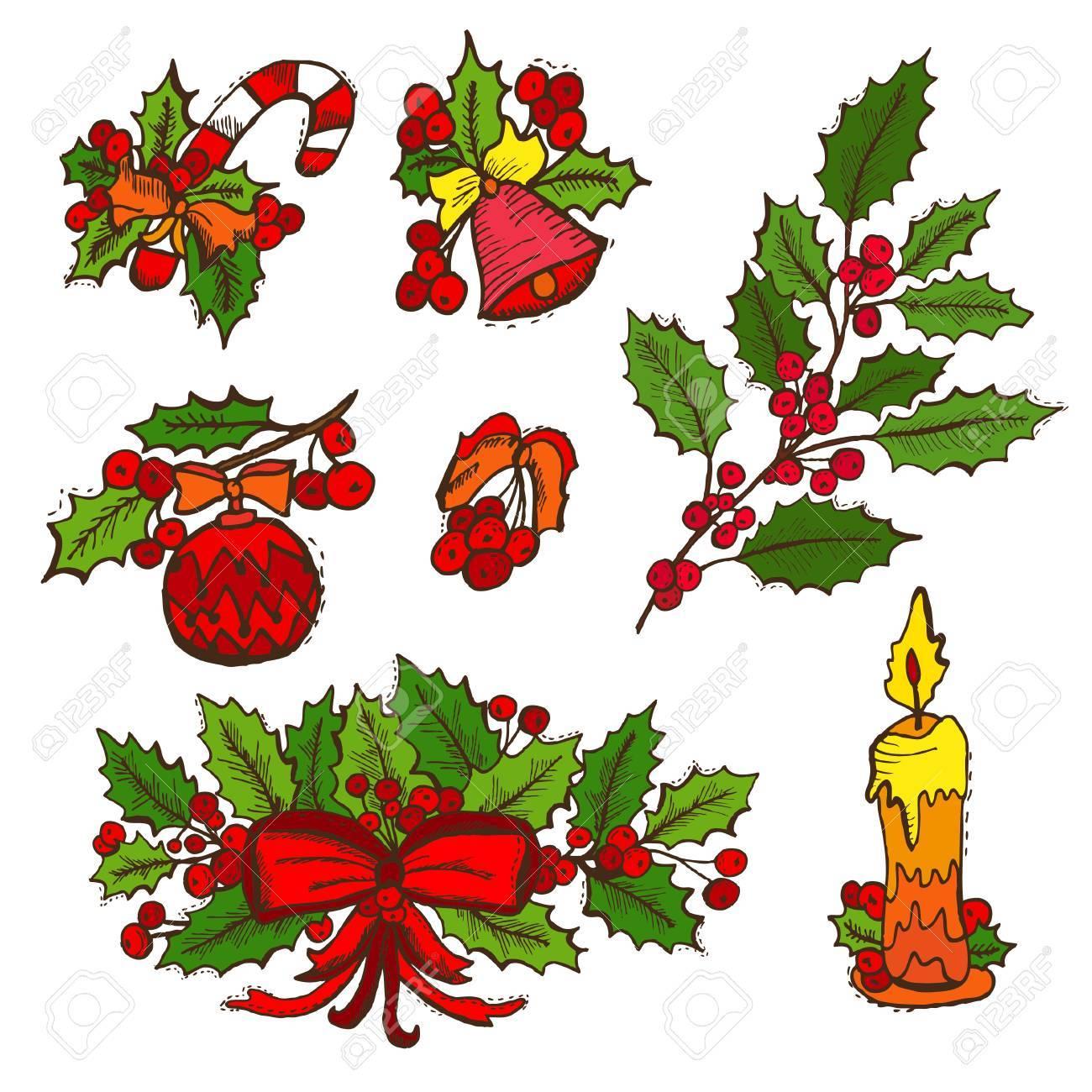 Decorazioni Di Natale Disegni.Disegno A Mano Decorativi Decorazioni Natalizie Elementi Di Design Puo Essere Usato Per Le Schede Inviti Carta Da Regalo Stampa Scrapbooking