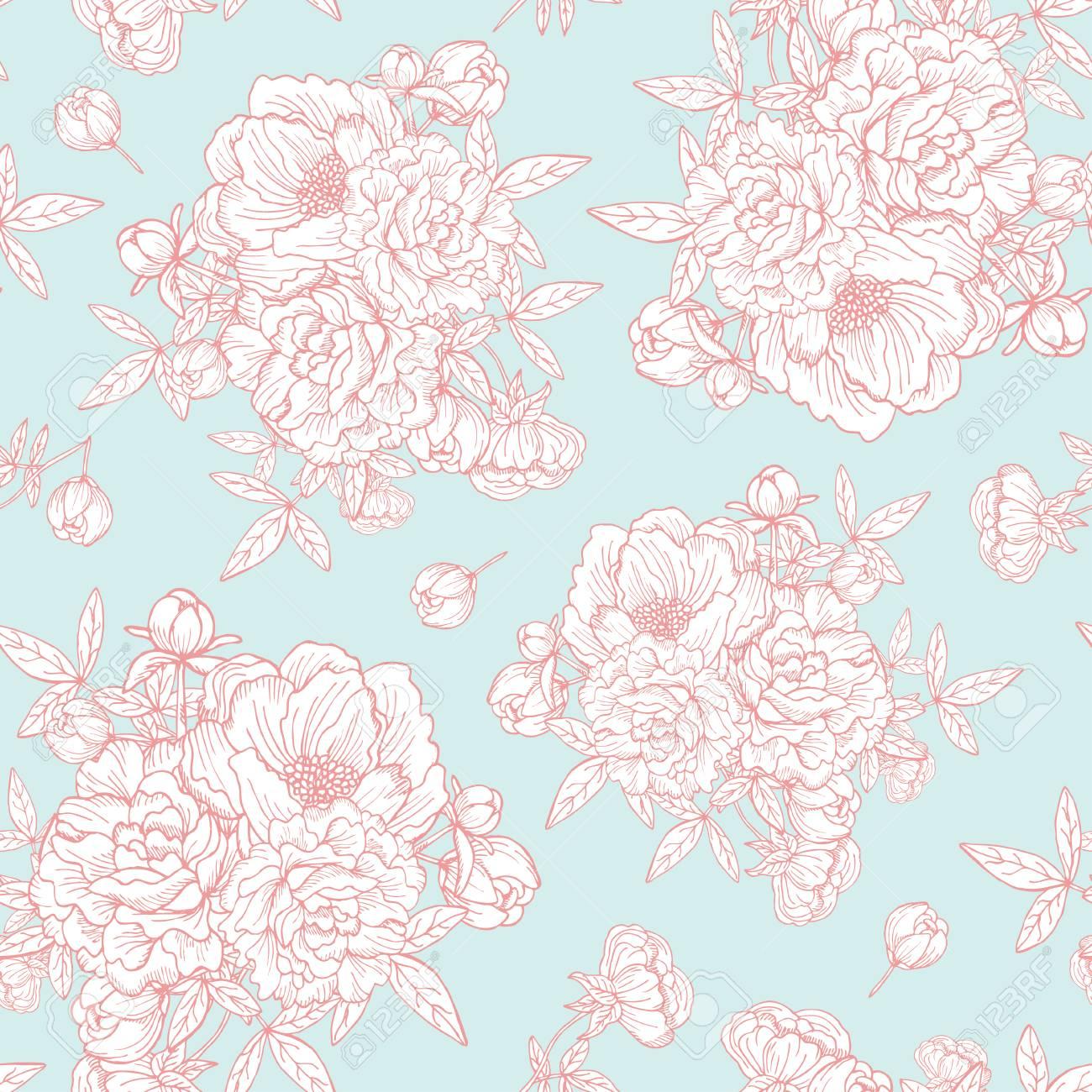 Elegant Seamless Pattern With Hand Drawn Decorative Peony Flowers ...