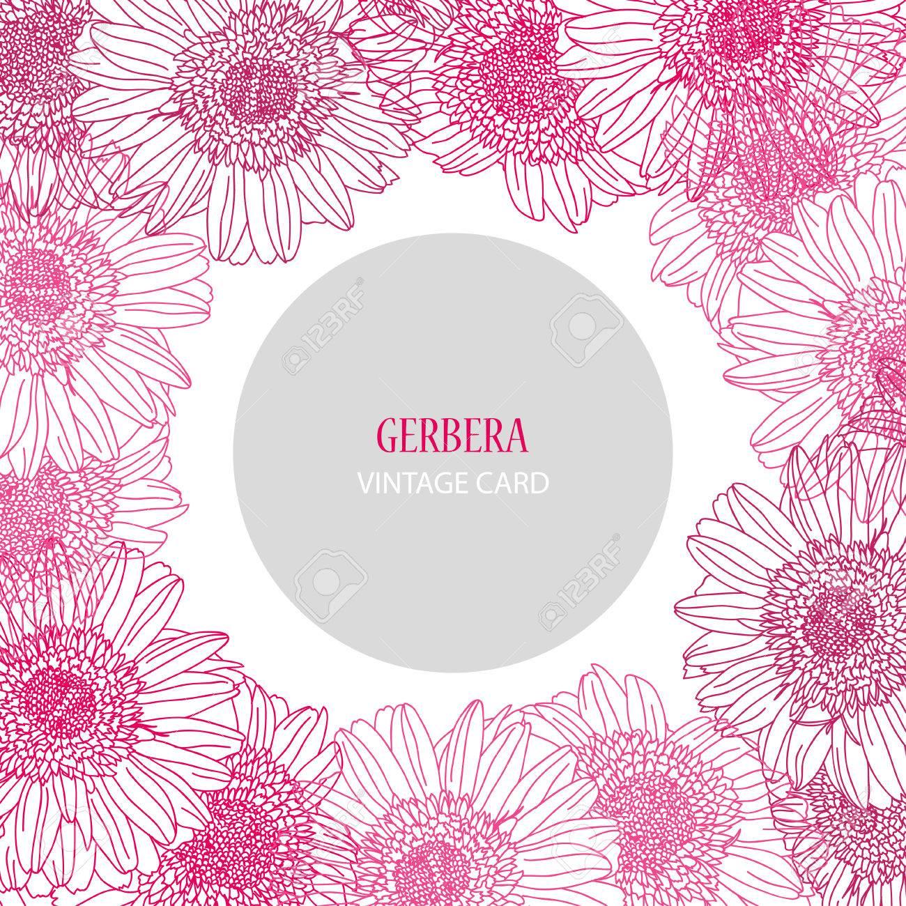 Tarjeta Elegante Con Flores De Gerbera Rosa, Elemento De Diseño ...