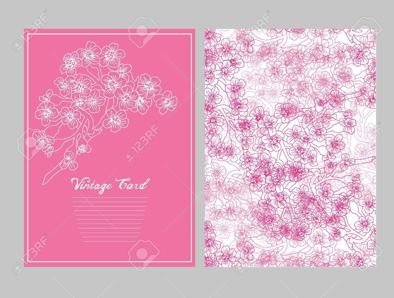 Tarjeta Elegante Con Flores De Cerezo, Elemento De Diseño. Puede Ser ...