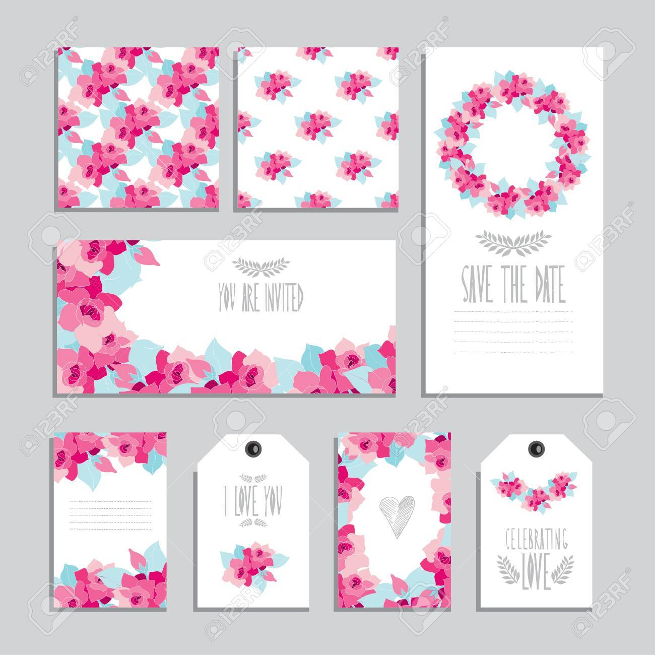 elegant cards and gift tags with gardenia floral bouquets design
