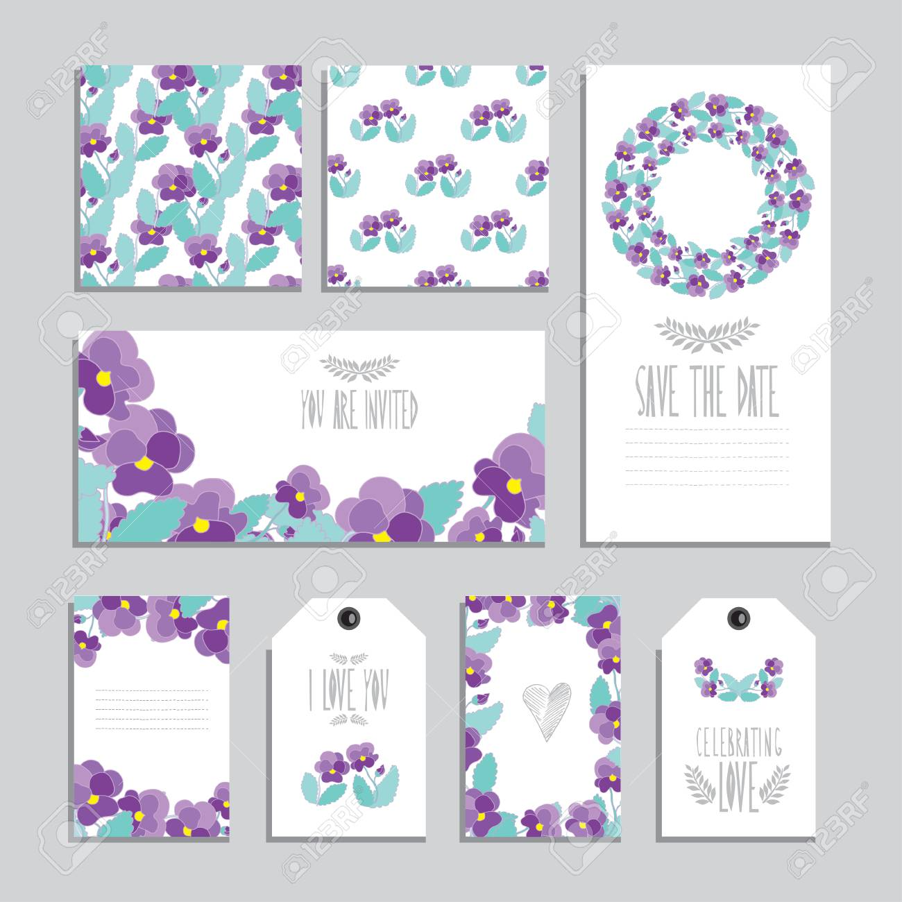 elegant cards and gift tags with pansy floral bouquets design