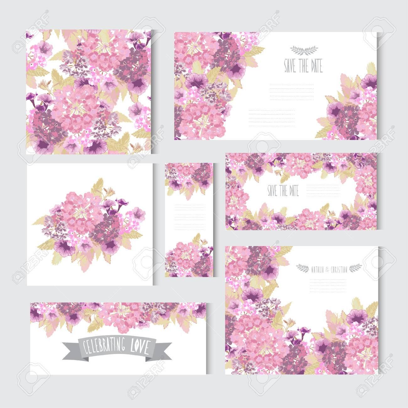 Tarjetas Elegantes Con Flores Decorativas, Elementos De Diseño ...