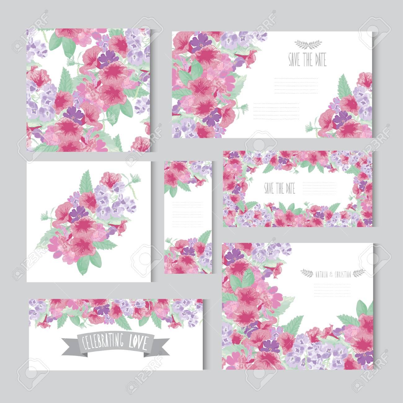 Tarjetas Elegantes Con Flores Decorativas Elementos De Diseño Puede Ser Utilizado Para La Boda Ducha Del Bebé Día De Madres Del Día De San