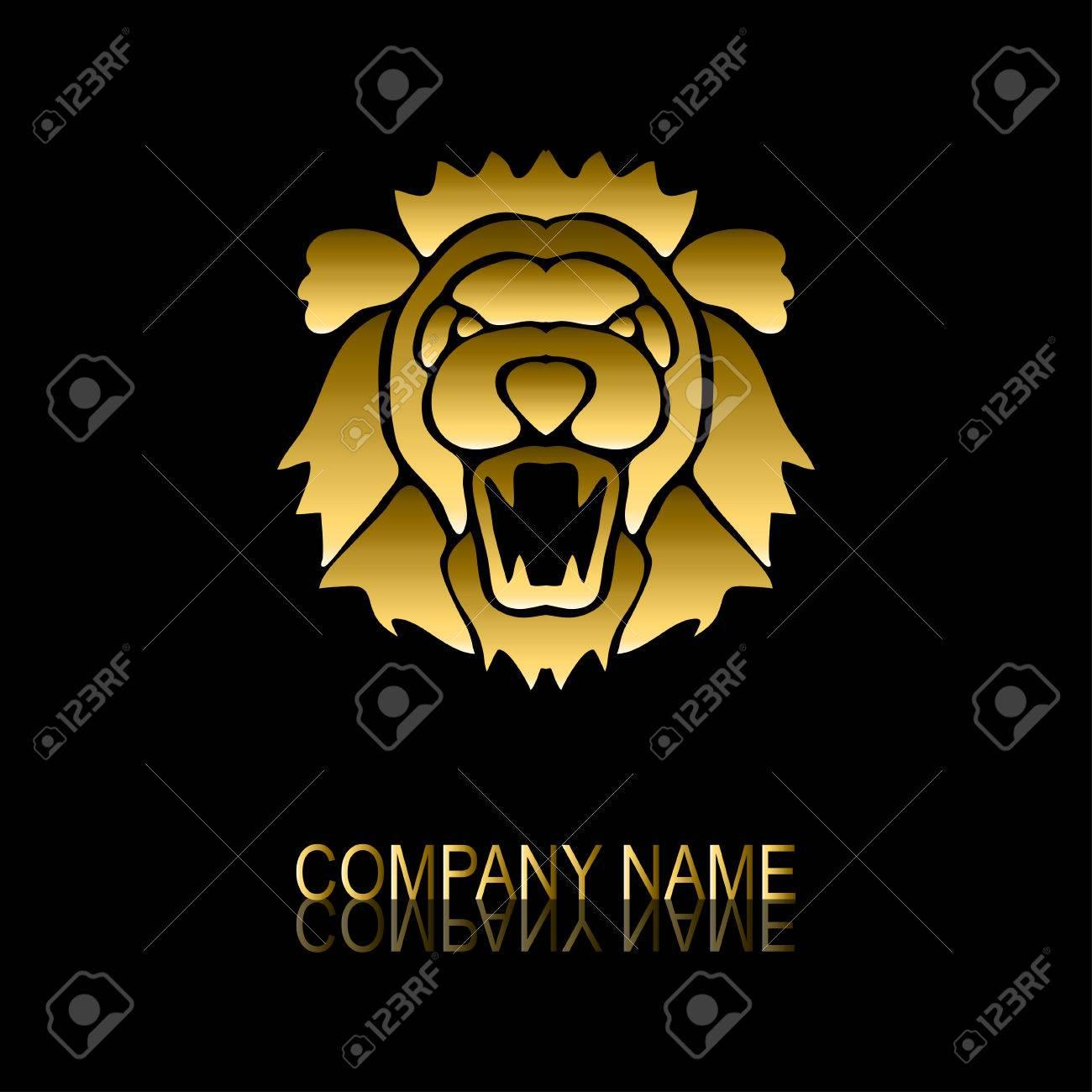 foto de archivo resumen de oro signo de len smbolo elemento de diseo puede ser utilizado para la identidad corporativa emblema de la compaa