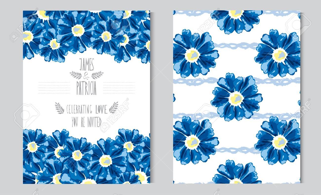 Elegant Cards With Decorative Blue Flowers, Design Elements ...