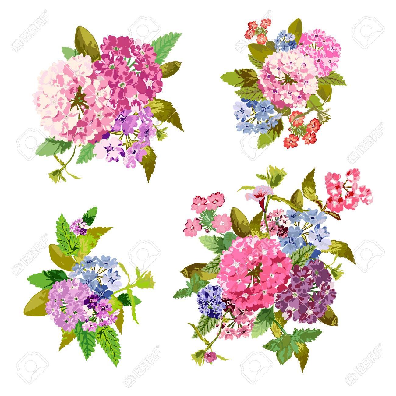 Elegant Bouquets With Flowers, Design Elements. Floral Compositions ...