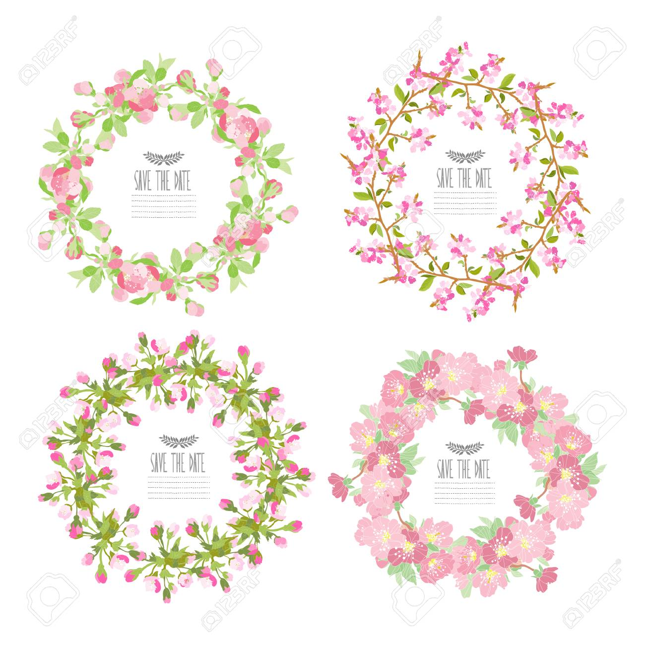 Elegant Wreaths With Decorative Cherry Blossom Flowers, Design ...