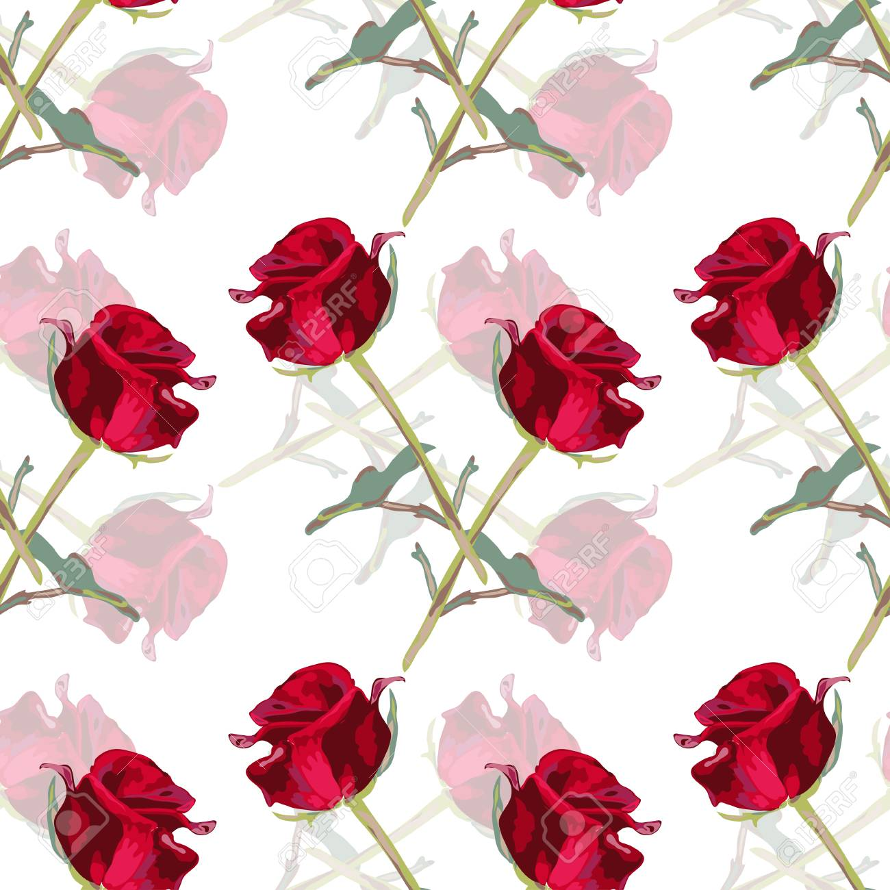 Elegant Seamless Pattern With Decorative Rose Flowers In Watercolor ...