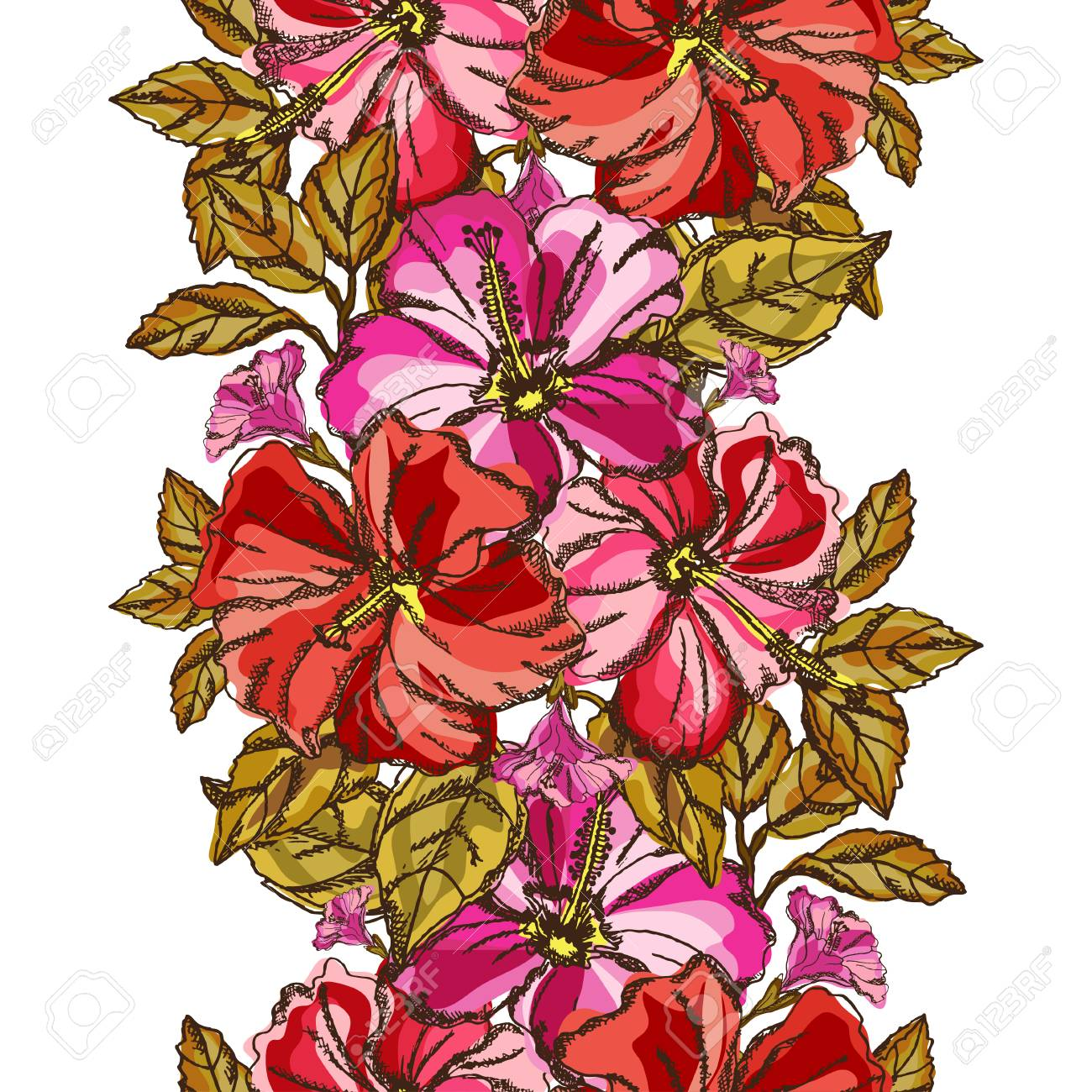 Elegant Seamless Pattern With Tropical Hibiscus Flowers And Leaves