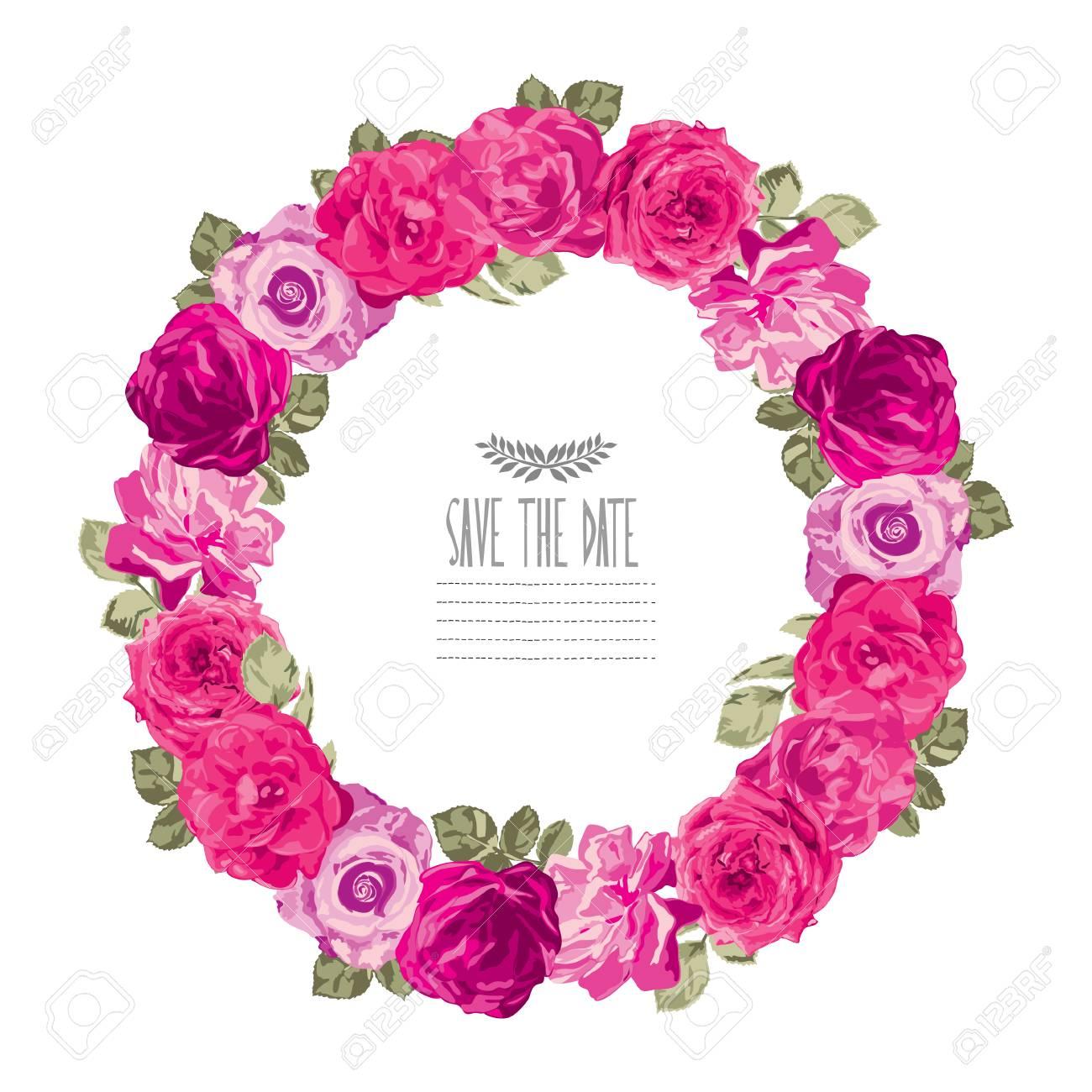 Elegant wreath with decorative pink rose flowers design element elegant wreath with decorative pink rose flowers design element can be used for wedding mightylinksfo