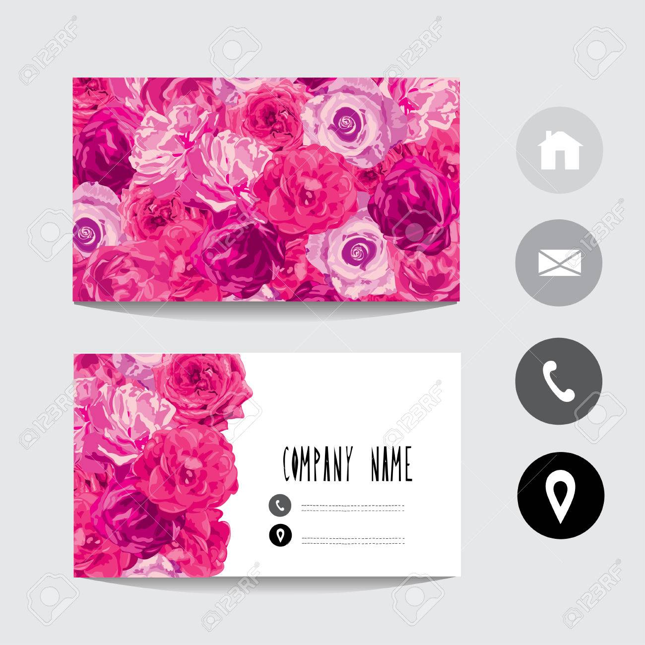 Business Card Template With Rose Flowers, Design Element. Can ...