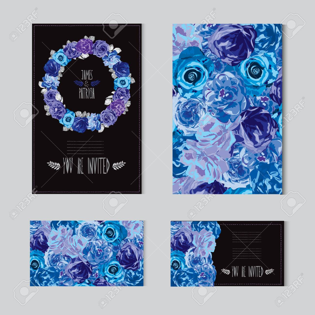 Elegant Cards With Decorative Rose Flowers. Can Be Used For Wedding ...
