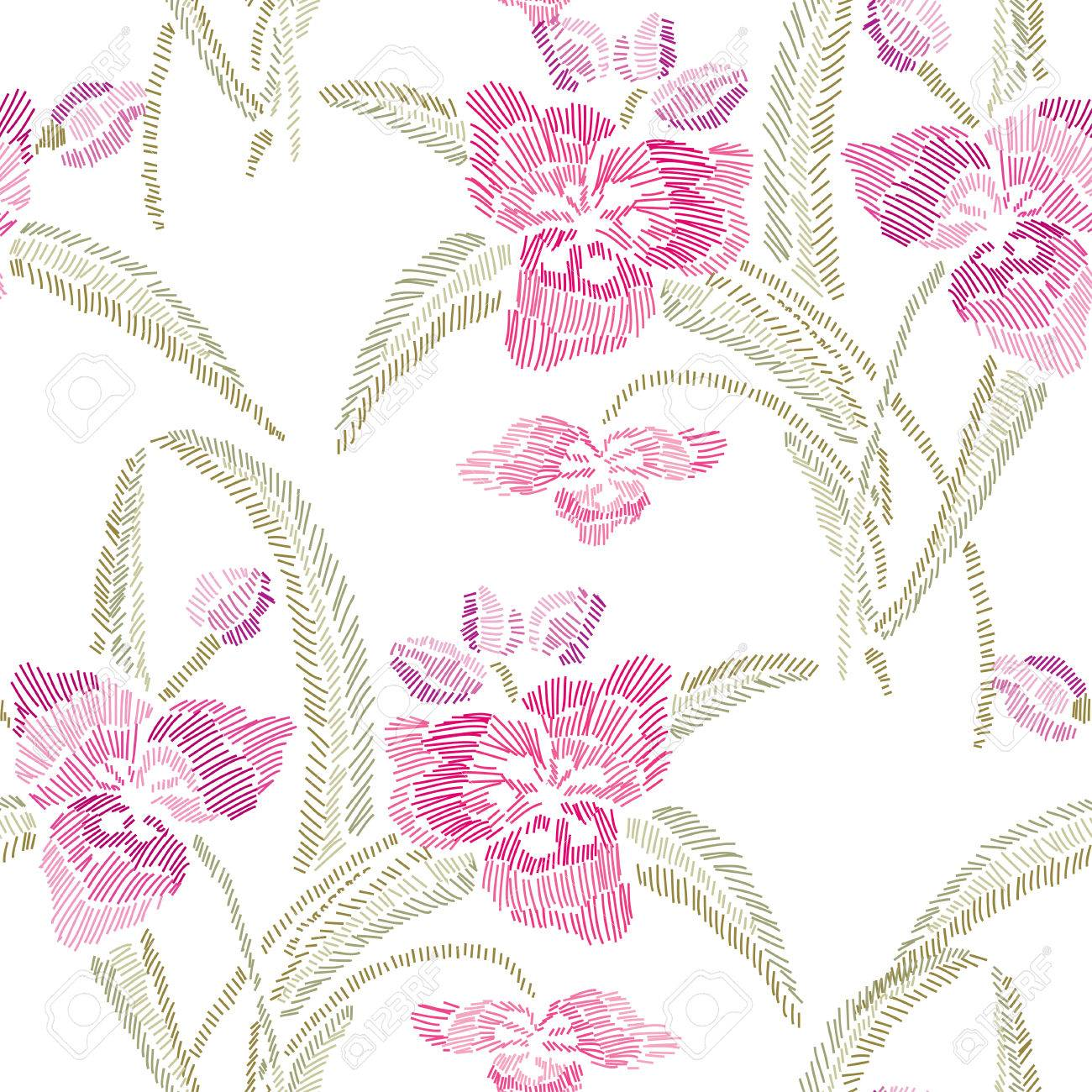 Elegante Diseño Inconsútil Con Flores De Lirio Decorativas Dibujadas ...