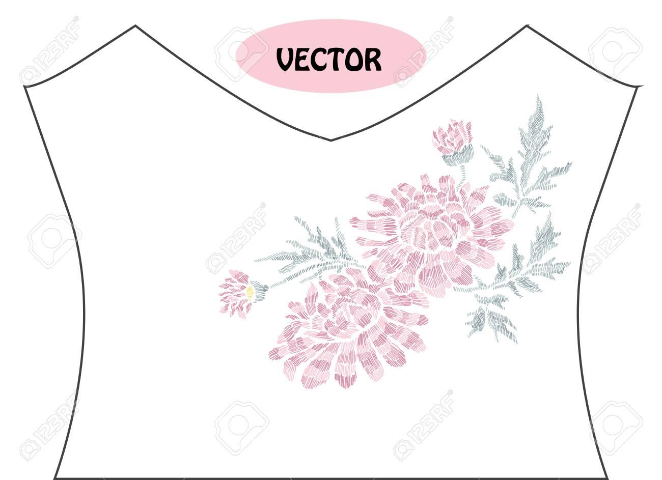 T シャツやドレスのネックラインの刺繍スタイルで装飾的な菊の花。編集可能な色。ファッション装飾品、生地、製造に使用できます。刺繍装飾花