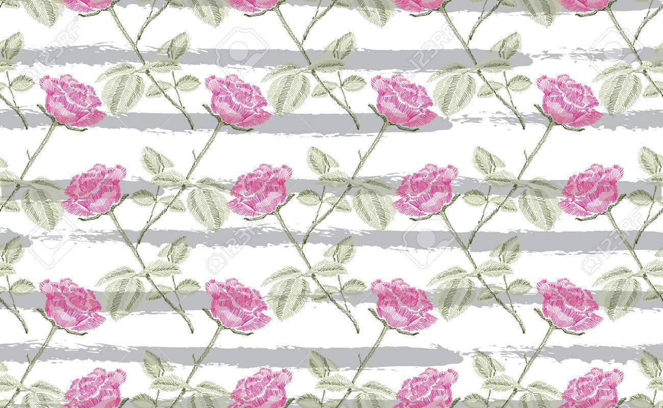 Elegante Diseño Inconsútil Con Flores Rosas Dibujadas A Mano ...