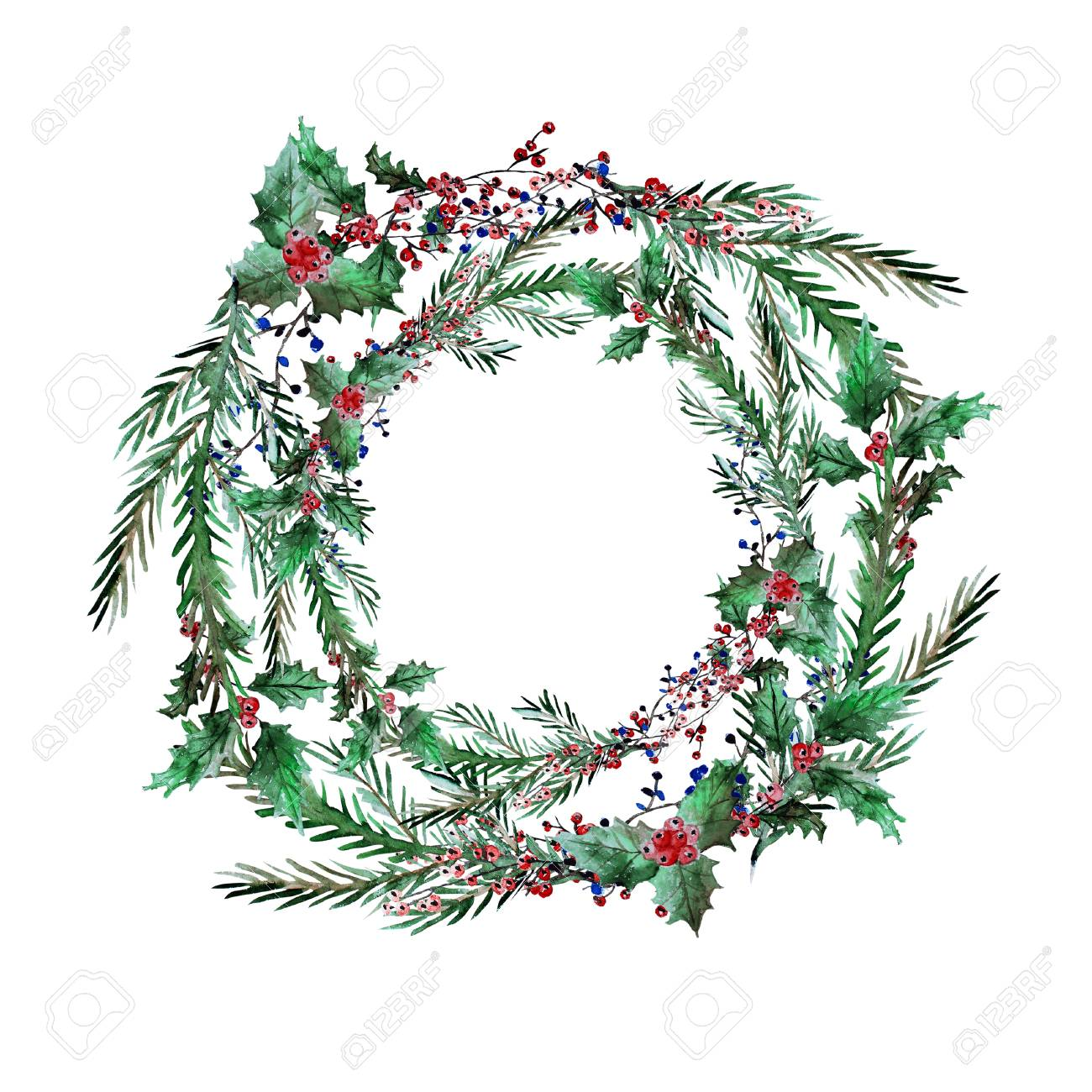 Watercolor Decorative Winter Holidays Wreath With Holly Berries Stock Photo Picture And Royalty Free Image Image 88641982
