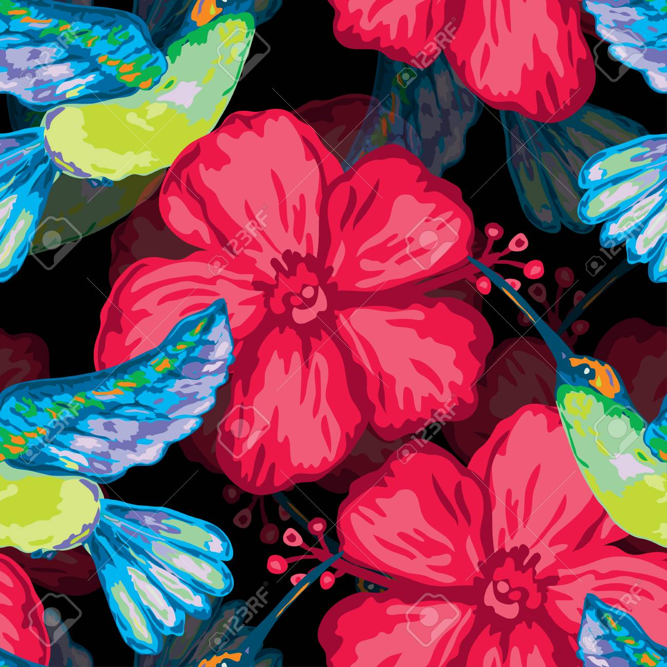 Elegant Seamless Pattern With Colibri And Hibiscus Design Elements
