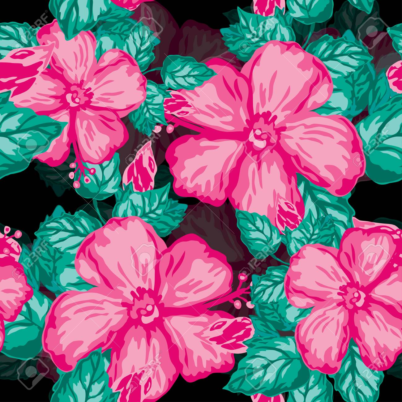 Elegant Seamless Pattern With Hibiscus Flowers Design Elements