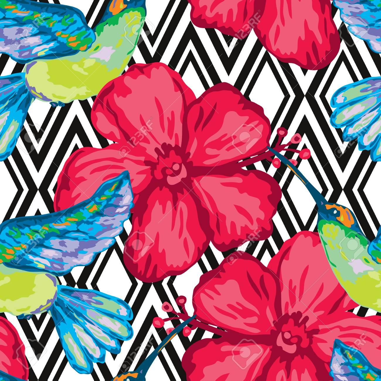 Colibri Hibiscus elegant seamless pattern with colibri and hibiscus, design elements
