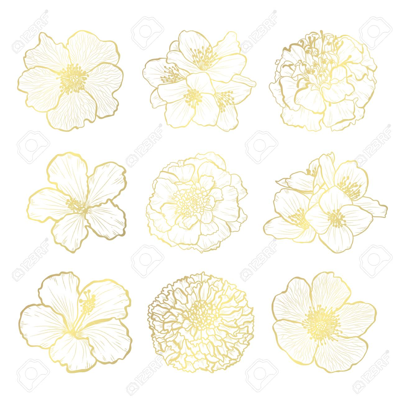 Decorative hand drawn flowers, design elements. Can be used for cards, invitations, banners, posters, print design. Golden flowers - 126472990