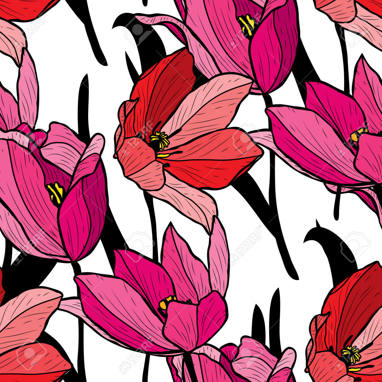 Elegant seamless pattern with tulip flowers, design elements. Floral pattern for invitations, cards, print, gift wrap, manufacturing, textile, fabric, wallpapers - 121868330