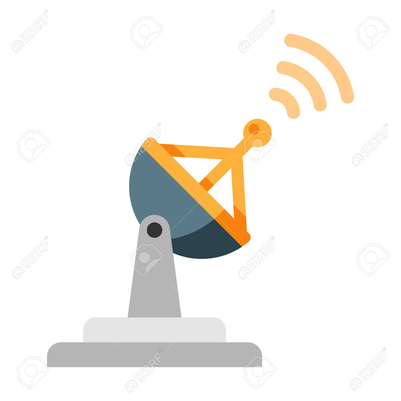Radar with signal icon vector illustration in flat color design - 111955697