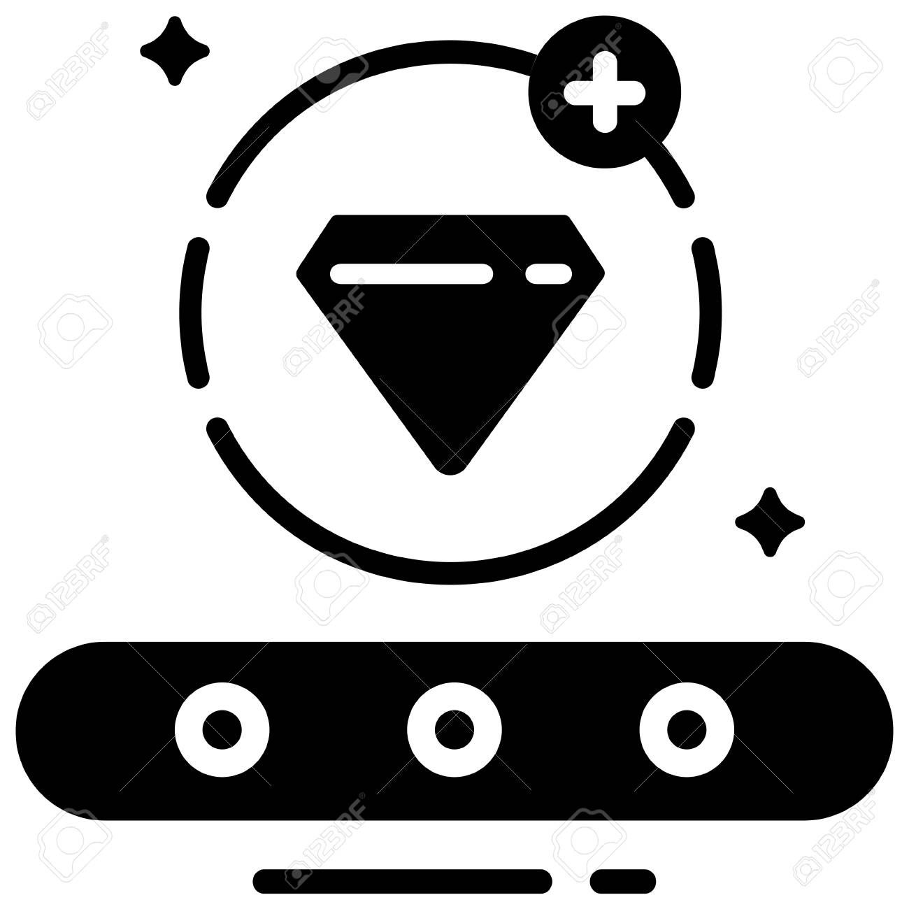 Conveyor and diamond with plus icon in circle line vector illustration