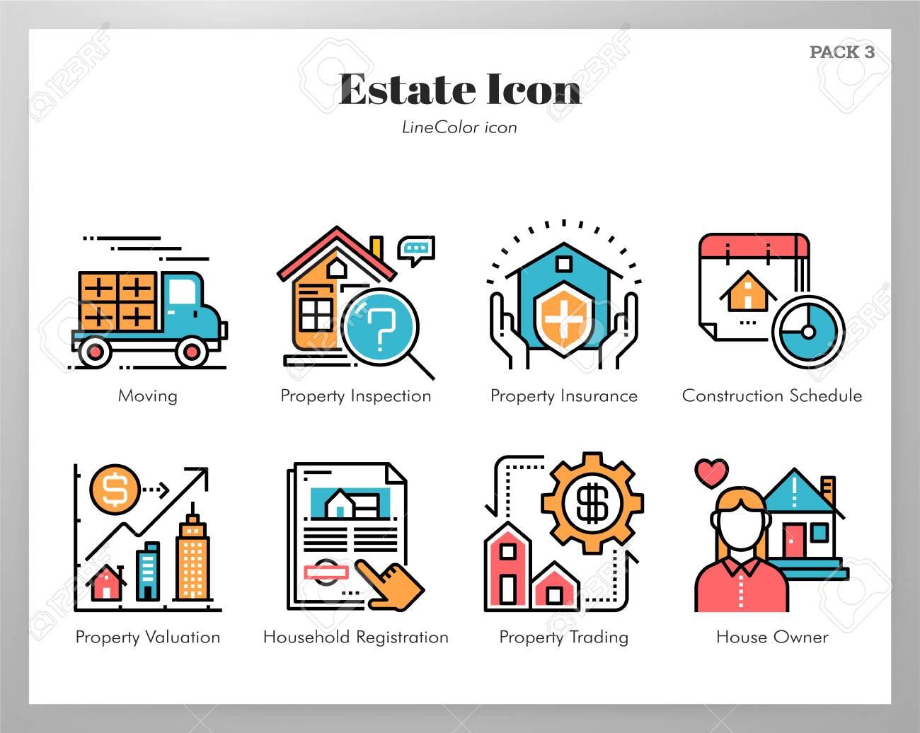 Estate vector illustration in line color design - 126642219