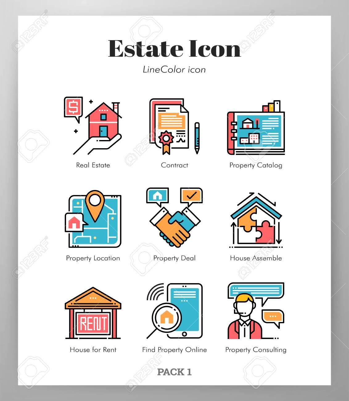 Estate vector illustration in line color design - 126642223